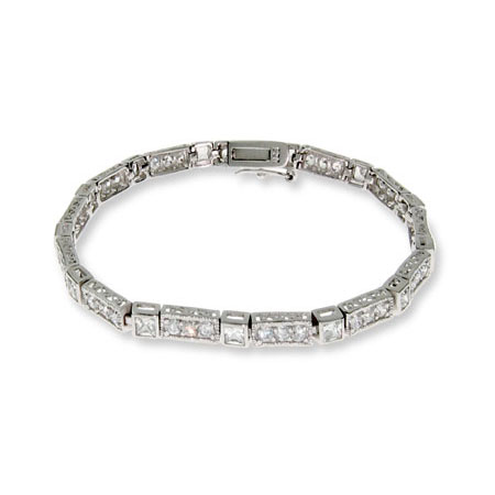 Diamond Cubic Zirconia Tennis Bracelet in Sterling Silver