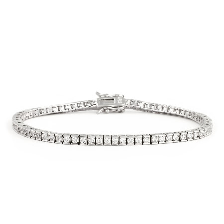 Sterling Silver Brilliant Cut 2mm CZ Tennis Bracelet