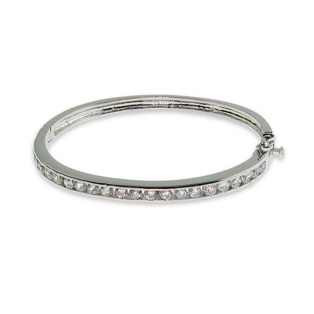 Sparkling Sterling Silver Channel Set CZ Bangle Bracelet
