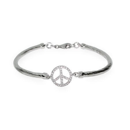 Sparkling Sterling Silver CZ Peace Sign Bracelet
