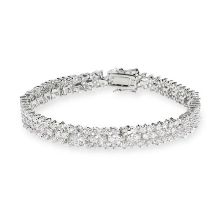 Glistening Three Row Sterling Silver CZ Tennis Bracelet