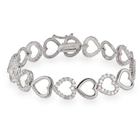 CZ and Silver Hearts Sterling Silver Bracelet