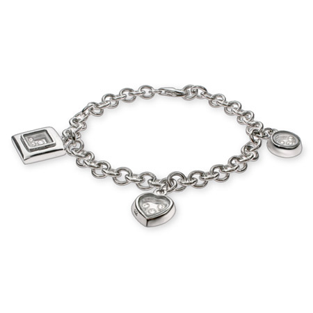 Chopard Inspired Floating CZs Sterling Silver Charm Bracelet