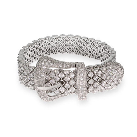 Miranda's Brilliant Cut CZ Silver Belt Buckle Bracelet