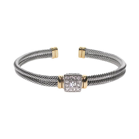 Designer Inspired Square Cut CZ Cable Cuff Bracelet