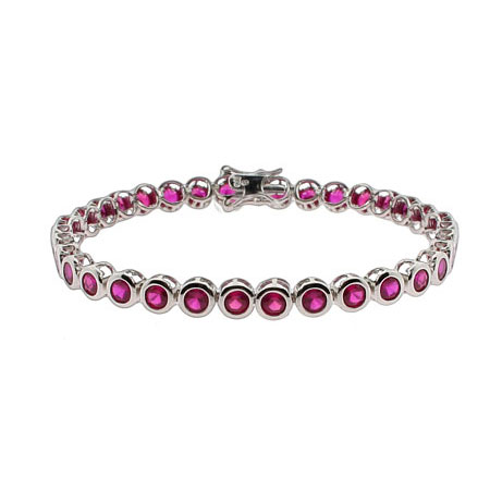 Tiffany Inspired Ruby CZ Bezel Set Tennis Bracelet
