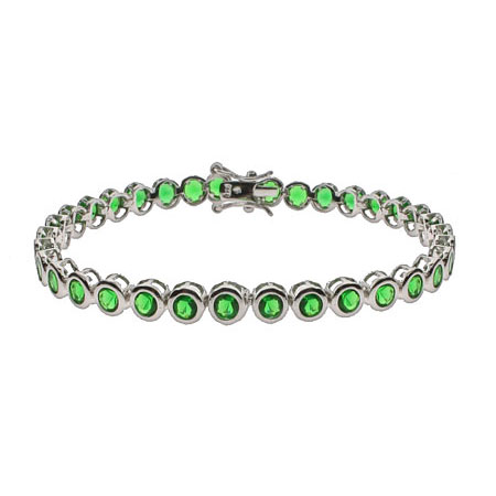 Tiffany Inspired Emerald CZ Bezel Set Tennis Bracelet