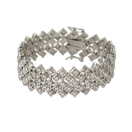 Glamorous Band of Diamonds CZ Cocktail Bracelet