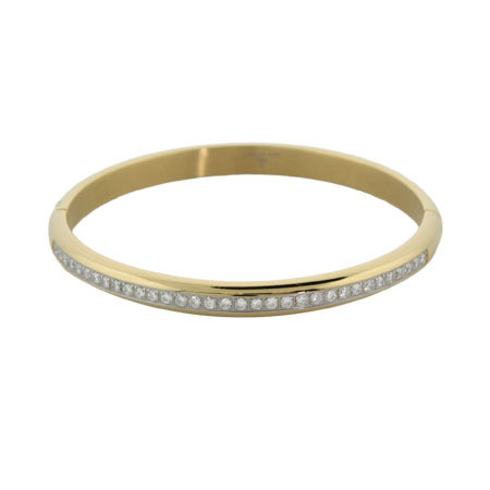 Engravable Gold Plate Channel Set CZ Bangle Bracelet