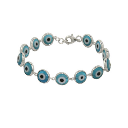Sterling Silver Blue Evil Eye Bracelet