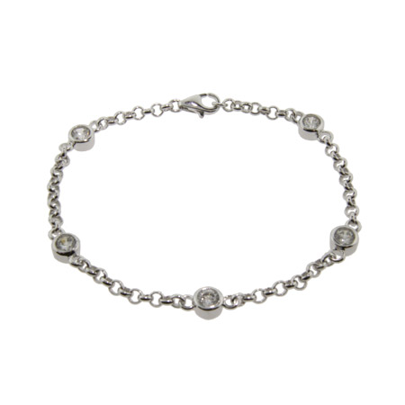 Kate Middleton Style CZs By The Yard Sterling Silver Bracelet
