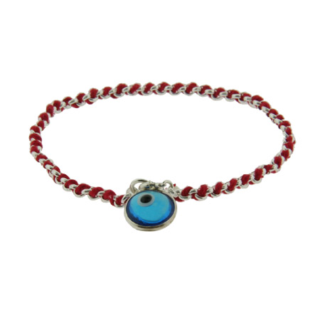 Sterling Silver Blue Glass Evil Eye Bracelet with Red Cord