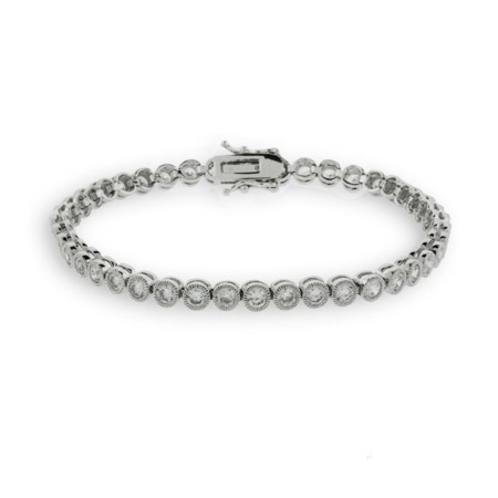 Bezel Set CZ Tennis Bracelet with Milgrain Edging