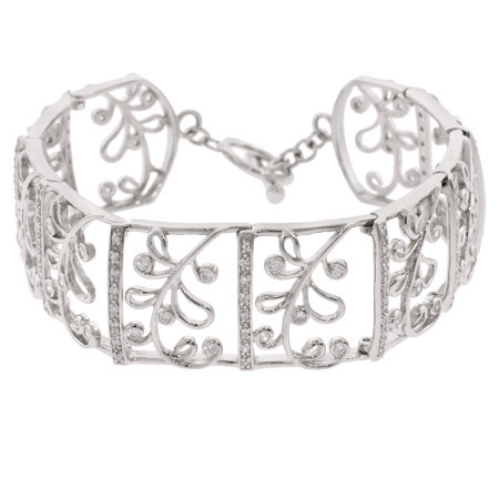 Sterling Silver Vintage Style Filigree and Ferms CZ Elegant Toggle Bracelet
