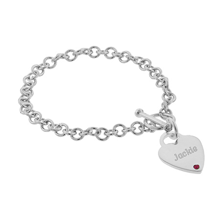 Close To The Heart Engravable Heart Tag Sterling Silver Birthstone Bracelet