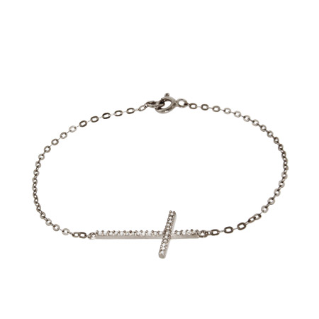 Sterling Silver and CZ Sideways Cross Bracelet