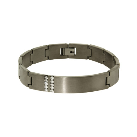 Mens Engravable Titanium ID Link Bracelet With CZ