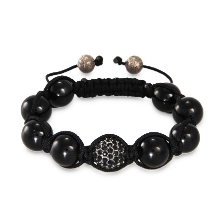 Black Austrian Crystal and Disco Ball Beads Shamballa Style Bracelet
