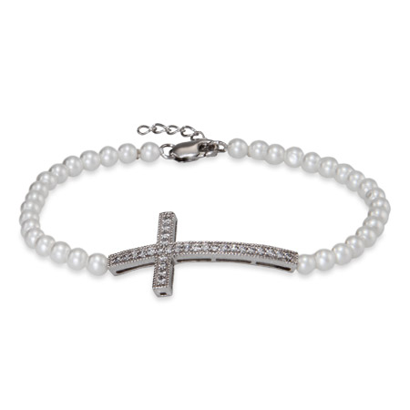 Sterling Silver Pearl Sideways Cross Bracelet