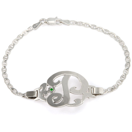 Sterling Silver Initial Bracelet with Birthstone