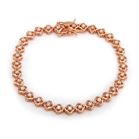 Rose Gold Flower CZ Tennis Bracelet