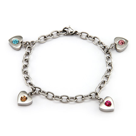 4 Stone Family of Hearts Custom Birthstone Bracelet