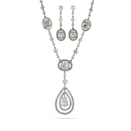 Exquisite Peardrop Cubic Zirconia Necklace and Earrings Set