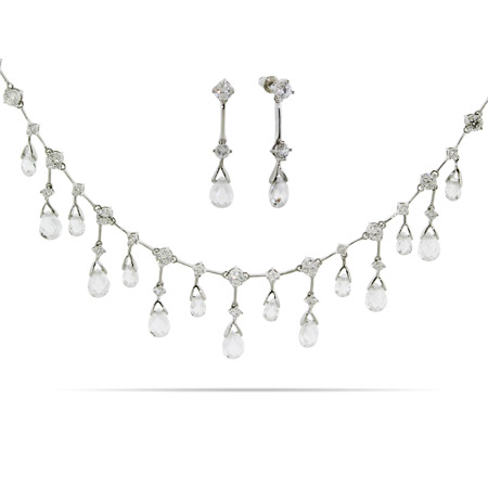 Elegant Dangling Crystal Teardrops CZ Bridal Set