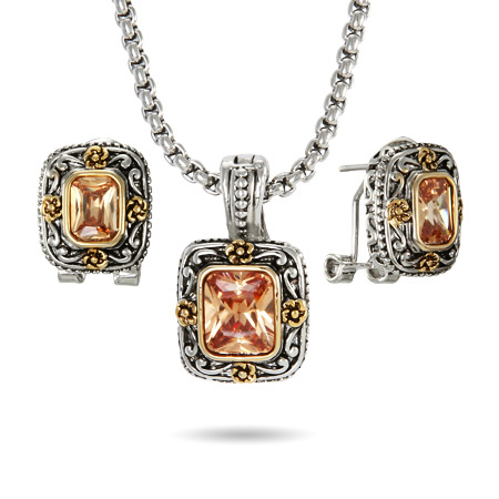 Designer Inspired Asscher Cut Champagne Earring and Necklace Set