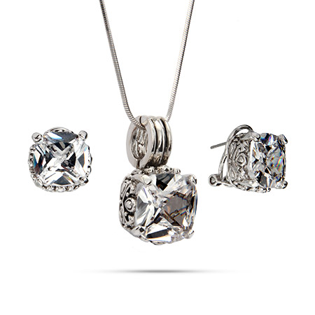 Designer Inspired Clear Cushion Cut CZ Necklace and Earring Set