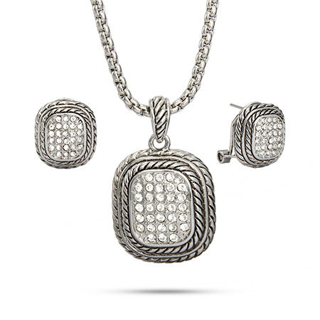 Designer Inspired Bali Style Pave Necklace and Earring Set
