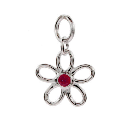 Sterling Silver Ruby CZ Flower Charm