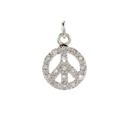 Sterling Silver CZ Peace Sign Charm