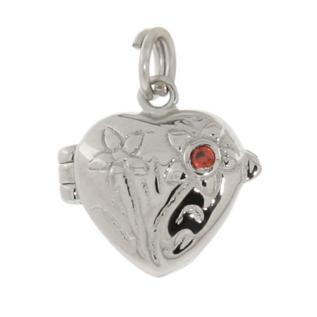 Sterling Silver Flower Heart Locket Charm
