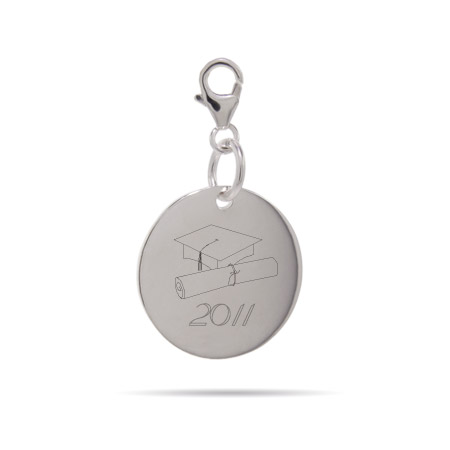 Tiffany Inspired Sterling Silver Engravable Graduation Charm