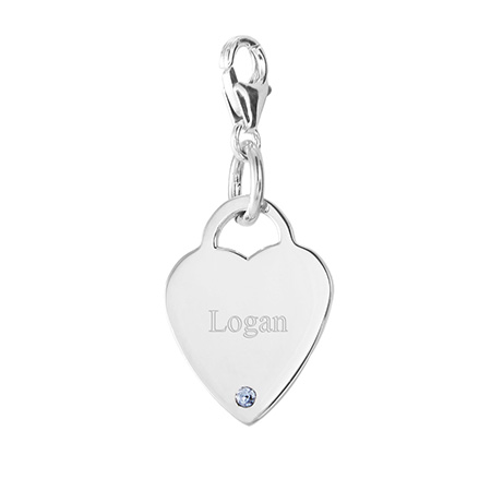 Close to the Heart Sterling Silver Heart Tag Birthstone Charm