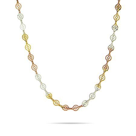 Tri Color Round Design Silver Link Chain