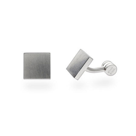 Mens Modern Style Stainless Steel Engravable Square Cufflinks