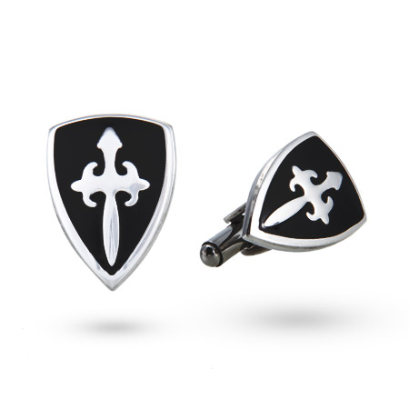 Men's Stainless Steel Fleur de Lis Crest Cufflinks