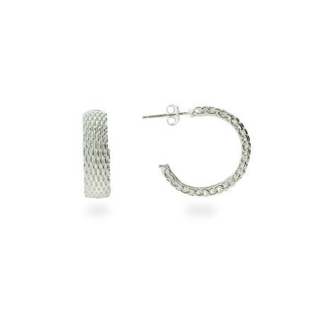 Tiffany Style Sterling Silver Mesh Hoop Earrings