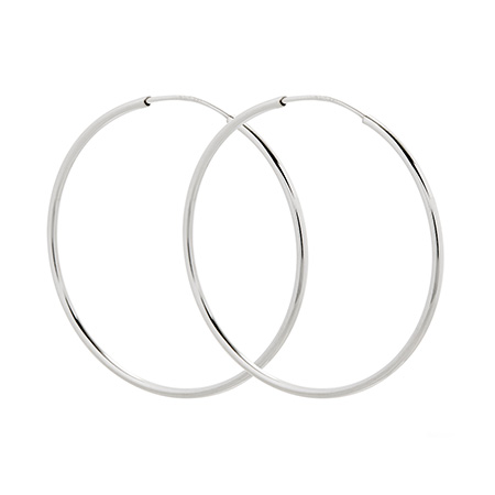 Jennifer Lopez Inspired Sterling Silver Continuous Hoop Earrings - 1.75 Inch