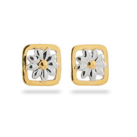 Tiffany Inspired Nature Daisy Stud Earrings in a Gold Border