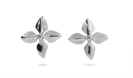 Tiffany Style Four Leaves Earrings in Sterling Silver
