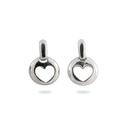 Tiffany Inspired Sterling Silver Stencil Heart Earrings