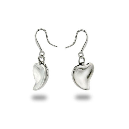Tiffany Inspired Sterling Silver Carved Heart Earrings