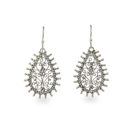 Filigree Teardrop Sterling Silver Bali Earrings