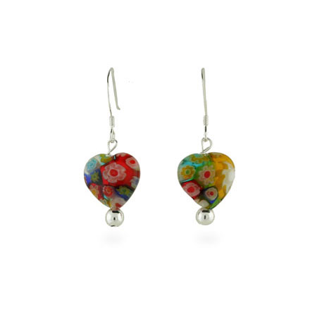 Sterling Silver Millefiori Venetian Glass Heart Earrings