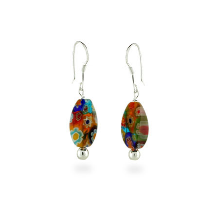 Sterling Silver Millefiori Venetian Glass Multi Color Oval Cut Earrings
