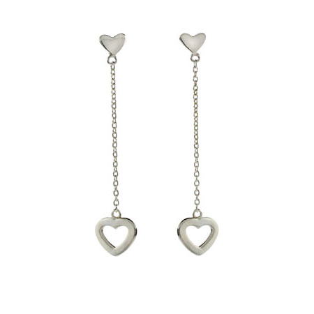 Tiffany Inspired Double Heart Drop Sterling Silver Earrings