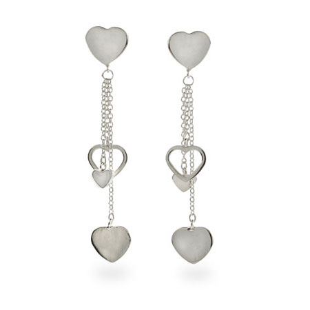 Tiffany Inspired Cascading Hearts Sterling Silver Earrings